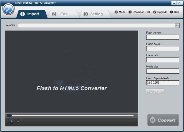 Free Flash to HTML5 Converter(FLASH转HTML5转换器)